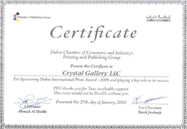 Cg crystal gallery receives a certificate of appreciation from the dubai chamber of commerce and industrys printing and publishing group on january 27 yelopaper Choice Image
