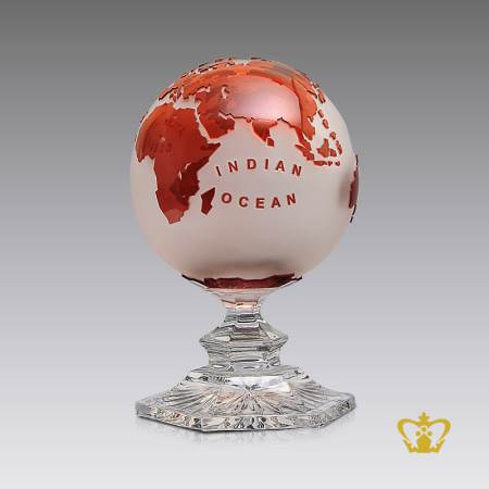 Artistry-Crystal-Frosted-Globe-Trophy-in-Red-Tone-with-Intricate-Detailing-of-Map