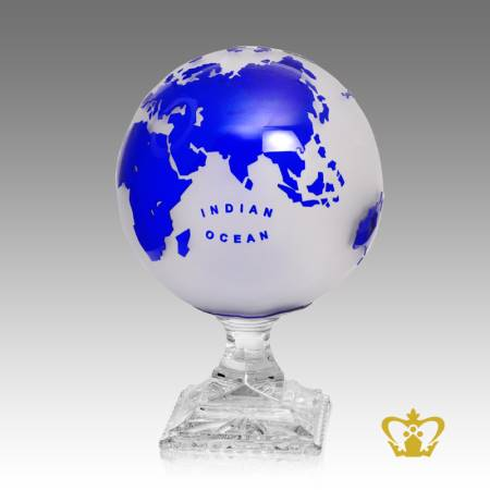 Artistry-Crystal-Frosted-Globe-Trophy-in-Blue-Color-with-Intricate-Detailing-of-Map