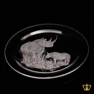 Crystal-center-plate-engraved-with-rhinoceros-customized-text-engraving-logo
