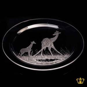 Crystal-center-plate-engraved-with-giraffe-customized-text-engraving-logo