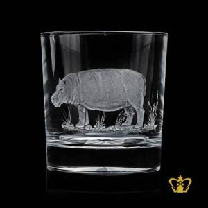 Wild-animal-hippopotamus-hand-engraved-rare-collection-wildlife-crystal-whisky-glass-10-oz