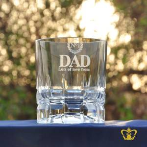 Nos-1-Dad-Lots-of-Love-from-a-personalized-message-engraved-Classic-Whisky-glass-features-a-square-hand-cut-impressive-design-around-body-and-bottom-of-crystal-tumbler-10-oz