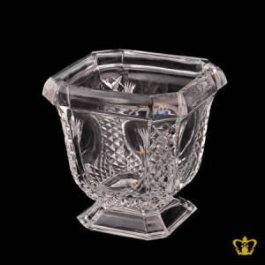 Crystal-champagne-footed-bucket-adorned-with-diamond-hand-carved-pattern-