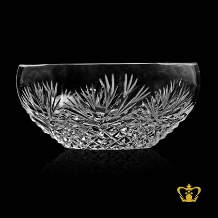 Special-oval-boat-shaped-crystal-candy-dish-nut-bowl-adorned-with-vintage-handcrafted-intense-leaf-and-diamond-cuts-