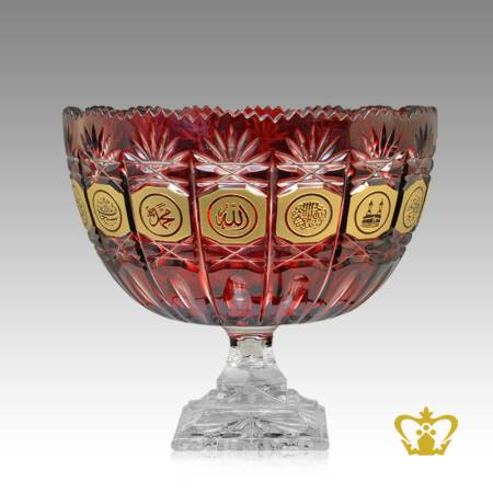 Deep-Leaf-Cross-Cuts-Decorative-Islamic-Religious-Ramadan-Eid-Gifts-Red-Crystal-Bowl-footed-Golden-Arabic-word-Calligraphy-Allah-Muhammad-the-Holy-Kaaba-Bismillah-Engraved