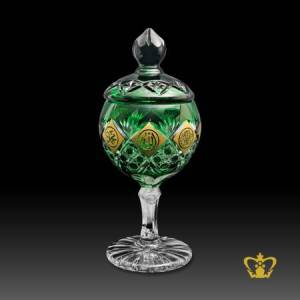 Green-Crystal-Candy-Jar-Footed-with-Golden-Arabic-Word-Calligraphy-Allah-Muhammed-Rasul-Allah-Bismillah-Ir-Rahman-Ir-Rahim-Islamic-Gift-with-Deep-Star-Leaf-Cut-Hand-crafted-Designs-engraved-Ramadan-Eid-Souvenir