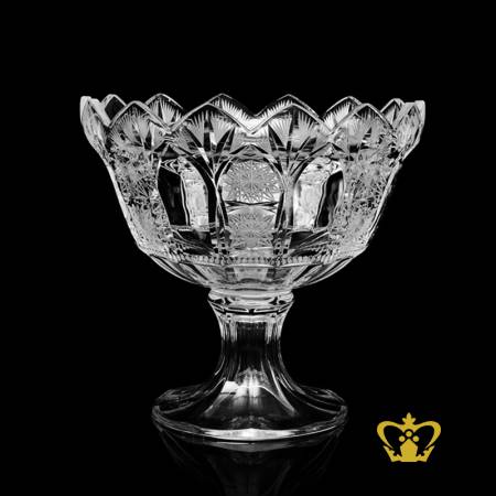 Elegant-luminous-footed-crystal-bowl-with-lovely-crown-edges-handcrafted-pattern