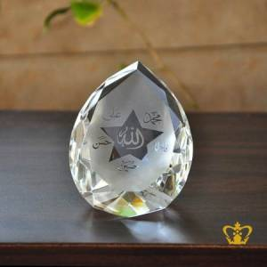 Diamond-Cut-Crystal-Paper-Weight-with-Holy-Panjtan-Arabic-Word-Calligraphy-Engraved-Around-Allah-Religious-Ramadan-Eid-Gift-Islamic-Occasions-Customized-Souvenir-