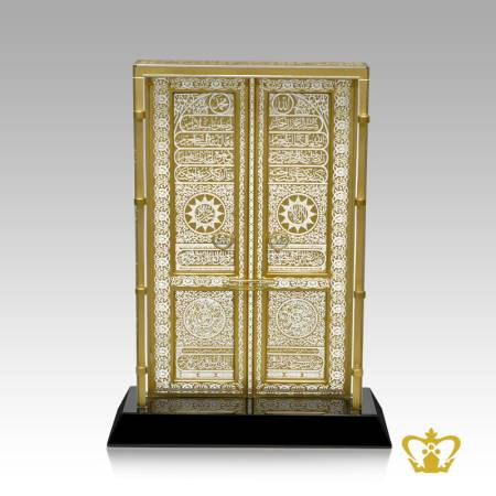 Crystal-holy-Kaaba-door-replica-handcrafted-Islamic-gift-with-golden-calligraphy-and-black-base