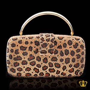 Ladies-purse-animal-print-inlaid-with-brown-and-black-crystal-stone-gorgeous-gift-for-her