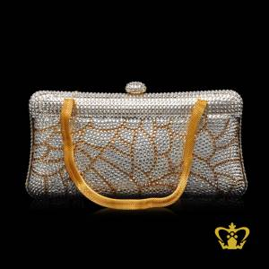 Embellished-luxurious-clutch-a-designer-purse-ornamented-with-golden-and-clear-crystal-diamond-leaf-pattern-an-opulent-gift-for-her