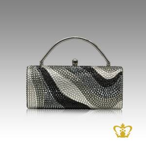Ladies-purse-wave-shaded-embellish-with-white-black-and-gray-crystal-diamond-gorgeous-gift-for-her
