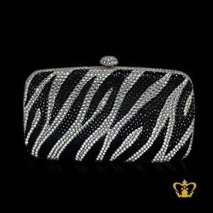 Ladies-purse-zebra-print-inlaid-with-black-and-clear-crystal-stone-gorgeous-gift-for-her