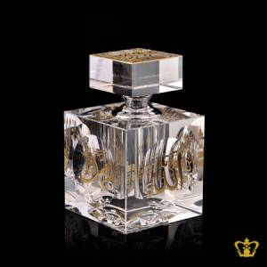 Perfume-Bottle-Crystal-Islamic-Occasions-Gift-Engraved-With-Arabic-Word-Calligraphy-In-Golden-Color-Bismillah-Allah-Muhammed-Rasul-Allah-And-The-Holy-Kaaba-Ramadan-Eid-Religious-Souvenir