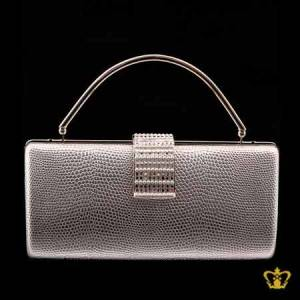 Shiny-white-ladies-purse-embellished-with-clear-crystal-diamond-and-pearl-around-the-lock