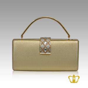 Ladies-purse-golden-color-embellished-with-clear-and-amber-crystal-diamond-around-the-lock