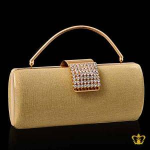 Ladies-purse-golden-color-embellished-with-clear-crystal-diamond-around-the-lock