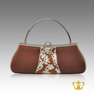 Ladies-purse-brown-color-embellished-with-clear-and-brown-sparkling-crystal-stone-gorgeous-gift-for-her