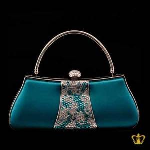 Ladies-purse-blue-color-embellished-with-clear-and-blue-sparkling-crystal-stone-gorgeous-gift-for-her