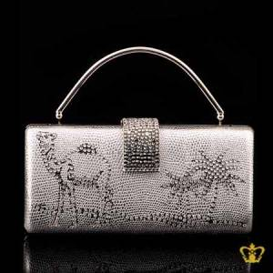 Ladies-purse-silver-color-embellished-clear-crystal-diamond-with-a-design-of-camel-palm-tree-clear-crystal-diamond-around-the-lock
