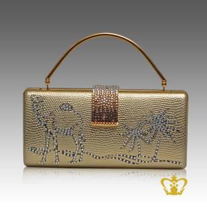 Ladies-purse-golden-color-embellished-clear-crystal-diamond-with-a-design-of-camel-palm-tree-brown-clear-crystal-diamond-around-the-lock