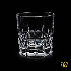 Classic-Whiskey-glass-features-a-square-hand-cut-impressive-design-around-body-and-bottom-of-crystal-tumbler-10-oz