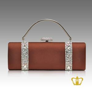 Ladies-purse-brown-color-embellished-with-clear-crystal-stone-gorgeous-gift-for-her