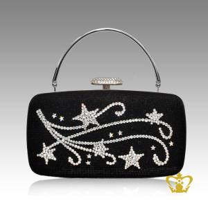 Black-shaded-ladies-purse-embellish-with-clear-crystal-stone-to-flower-design-