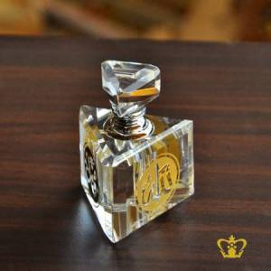 Triangular-Perfume-Bottle-Crystal-Islamic-Occasions-Gift-Engraved-with-Arabic-Word-Calligraphy-in-Golden-color-Allah-Muhammed-Rasul-Allah-and-the-Holy-Kaaba-Ramadan-Eid-Religious-Souvenir