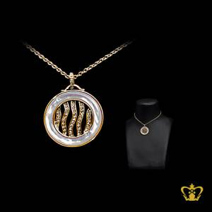 Modish-gold-rhodium-plated-round-pendant-embellish-with-crystal-diamond