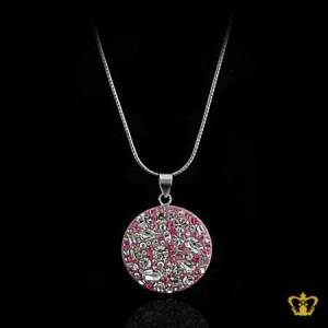 Shining-round-pink-pendant-inlaid-with-clear-crystal-diamonds-lovely-gift-for-her