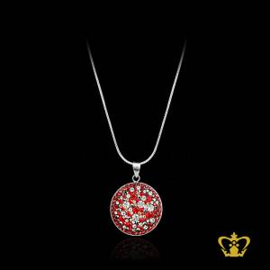 Shimmering-pendant-inlaid-with-red-gleaming-crystal-diamond-lovely-gift-her