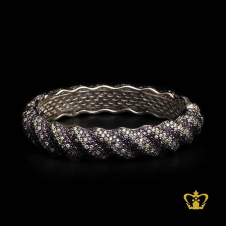Classy-stylish-sterling-silver-bracelet-embellished-with-violet-clear-crystal-diamonds-luxurious-gift-for-her