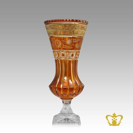 Amber-crystal-decorative-vase-golden-Arabic-word-Ayat-Al-Kursi-engraved-deep-diamond-cuts-handcrafted-Islamic-souvenir-religious-occasions-Ramadan-Eid-gifts