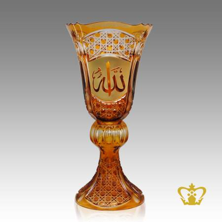 Amber-2-Tier-Crystal-Decorative-Vase-Arabic-word-Golden-Calligraphy-Allah-Engraved-Hand-crafted-Deep-Diamond-Leaf-Cuts-Islamic-religious-Ramadan-Eid-Gifts