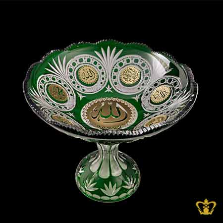 Footed-Green-Crystal-Bowl-Deep-Leaf-Diamond-Cuts-Arabic-Word-Calligraphy-Engraved-Allah-Muhammad-Allah-Akbar-Bismillah-Engraved-Decorative-Islamic-Religious-Ramadan-Eid-Gifts
