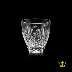 The-rocks-Glass-Unique-whiskey-tumbler-hand-cut-diamond-and-leaf-design-rising-from-the-bottom-10-oz
