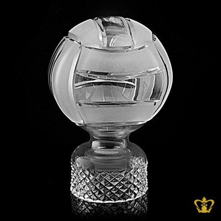 Personalized-Crystal-Replica-of-Volleyball-Trophy-Customized-Text-Engraving-Logo-Base-Box