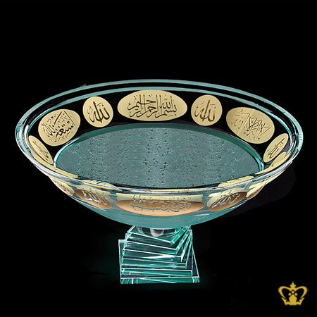 Crystal-Bowl-footed-Islamic-Religious-Occasions-Golden-Arabic-word-Calligraphy-Engraved-Allah-Bismillah-Ir-Rahman-Ir-Rahim-La-Illaha-illa-Allah-Ramadan-Decorative-Eid-Gifts