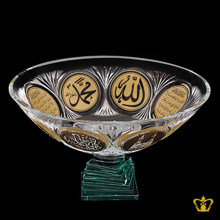 Crystal-Bowl-Handcrafted-Decorative-Deep-Leaf-Cut-Footed-Golden-Arabic-word-Calligraphy-Engraved-Allah-Muhammad-Quran-Verses-Islamic-Religious-Ramadan-Eid-Gifts