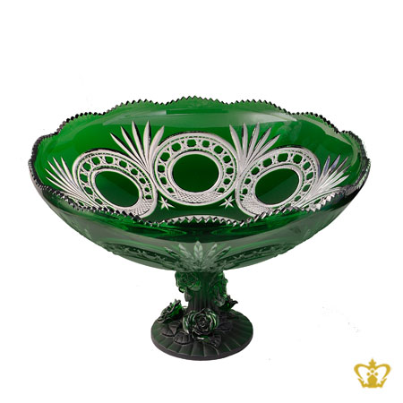 Lovely-green-footed-crystal-bowl-hand-carved-with-traditional-pattern