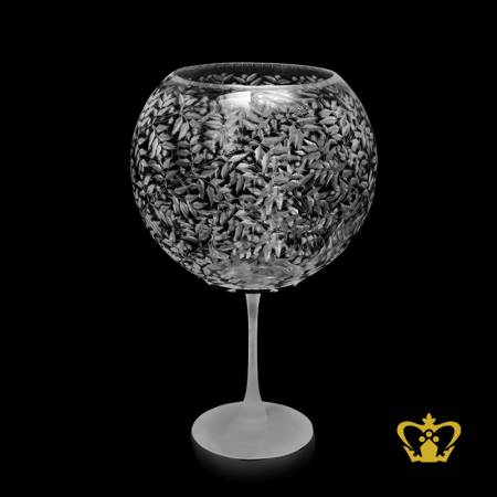 Gorgeous-crystal-bowl-carved-with-charming-leaf-pattern-enhanced-with-sleek-frosted-long-pulled-stem