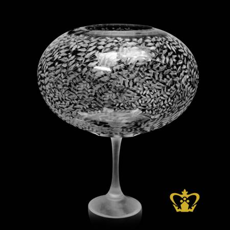 Stunning-crystal-bowl-engraved-with-delightful-leaf-pattern-enhanced-with-sleek-frosted-long-pulled-stem