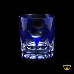 Timless-blue-crystal-whiskey-tumbler-adorned-with-precious-clear-deep-wide-curved-facets-pattern-10-oz