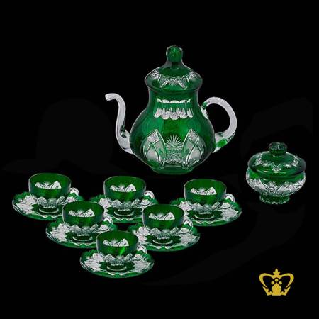 Emerald-green-crystal-tea-set-of-6-cups-and-saucer-embellished-with-intense-hand-carved-vintage-pattern