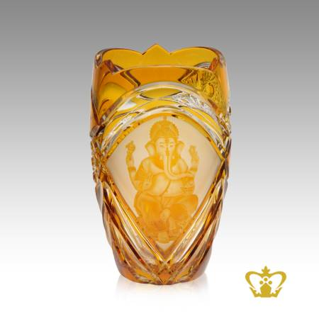 Religious-spiritual-holy-gift-crystal-amber-Ganesha-vase-Indian-festival-Diwali-celebration-Hindu-god