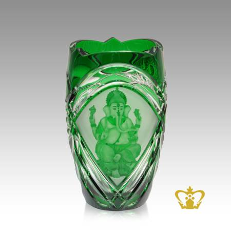 Religious-spiritual-holy-gift-crystal-green-Ganesha-vase-Indian-festival-Diwali-celebration-Hindu-god