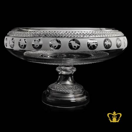 Luxurious-grand-crystal-footed-bowl-hand-crafted-with-diamond-pattern-horse-rider-silhouette