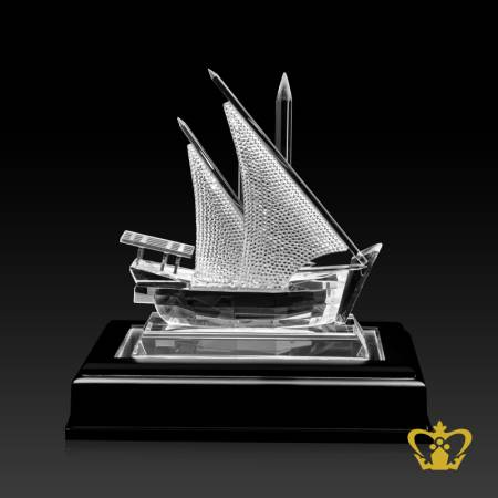 Crystal-ship-replicawoth-wooden-base-traditional-corporate-UAE-national-day-gift-tourist-souvenir